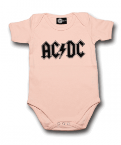 AC/DC Onesie Baby Logo Pink  – metal onesies