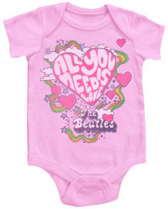 Beatles Onesie Baby All You Need Is Love Pink