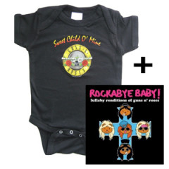 guns and roses romper & Rockabyebaby CD Lullaby Baby CD giftset