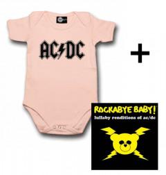 Giftset AC/DC Baby Onesie Logo Pink & AC/DC CD