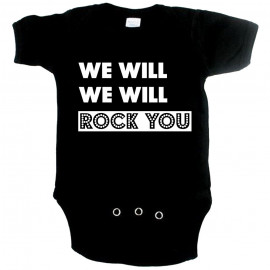 Cool baby onesie we will rock you