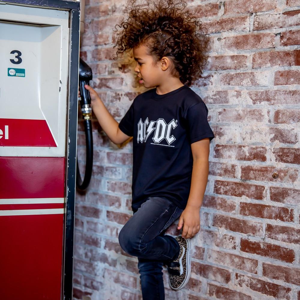 ACDC Kids/Toddler T-shirt - Tee logo white AC/DC fotoshoot