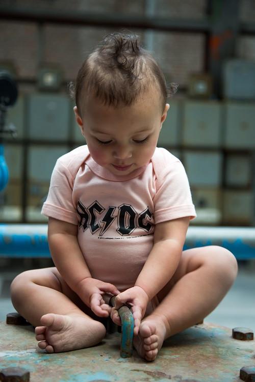AC/DC Onesie Baby Logo Pink  – metal onesies photoshoot