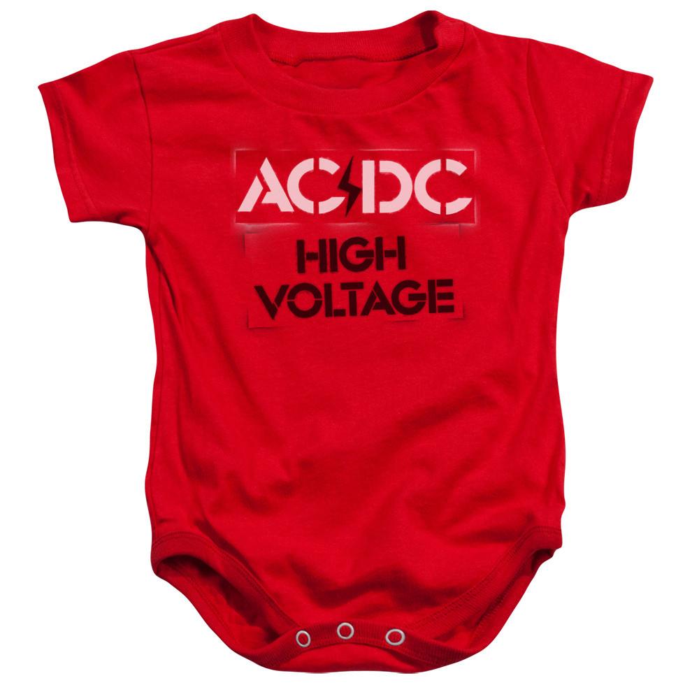 AC/DC baby onesie High Voltage Red