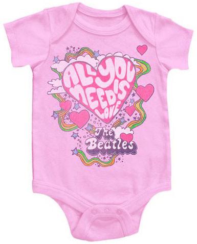 Beatles Onesie Baby All You Need Is Love Pink