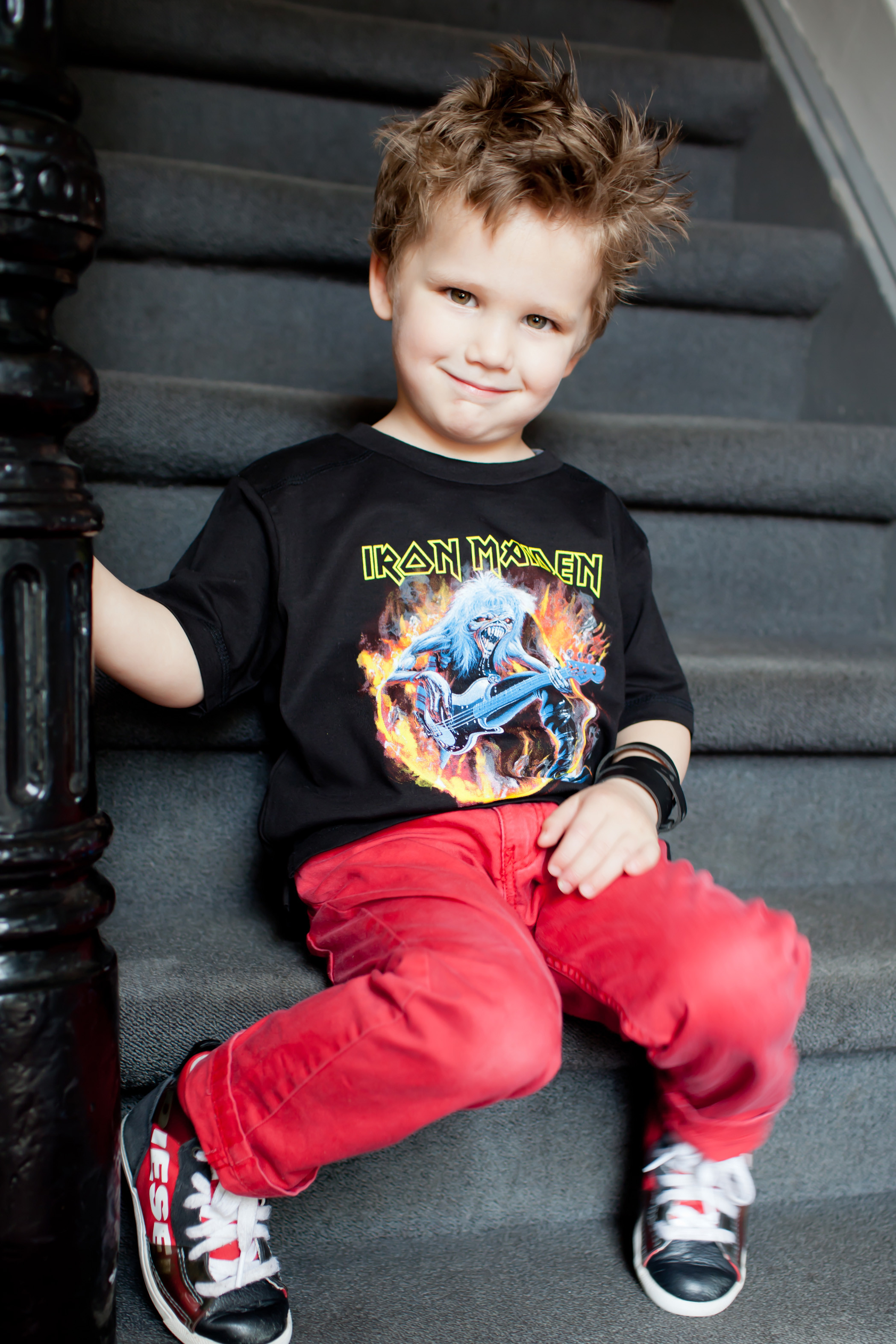Iron Maiden kids tshirt photoshoot