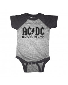 ACDC baby onesie Back in Black two tone