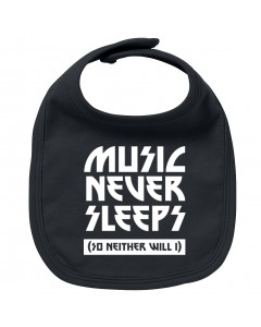 Rock baby bib music never sleeps