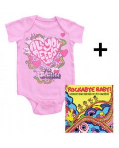 Giftset Beatles Romper & Rockabyebaby CD Lullaby Baby CD