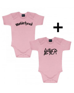Giftset Motörhead Baby Onesie & Slayer Onesie Pink